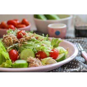 Салат «Фитнес с тунцом» (тунец, огурец, помидор, пекинская капуста, майонез, лук зеленый)