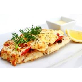 Рыба с помидорами под сыром, картофель пикантный