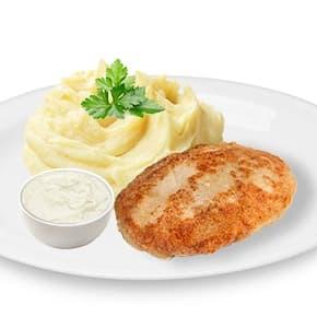 Котлета мясная «По-домашнему», соус «Чесночный», картофельное пюре