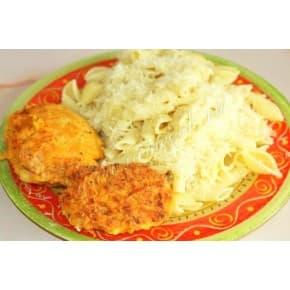 Бифштекс «Старорусский», спагетти в соусе карри