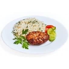 Котлета «По-домашнему» куриная, рис отварной, соус «Карри»