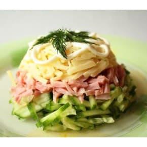 Салат «Ветчинный» (ветчина, огурец свежий, яйцо, сыр, майонез)