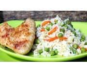 Крылышки запеченные с овощами, рис отварной