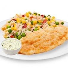 Красная рыба в омлете с соусом «Тар-Тар», рис с деликатесными овощами
