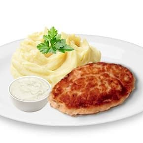 Котлета «Домашняя», соус «Чесночный», картофельное пюре