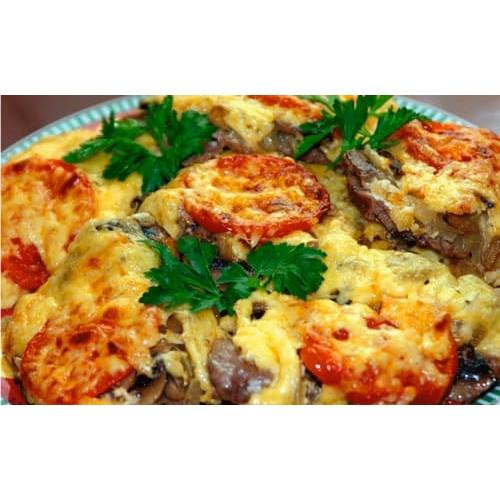 Мясо по французски с помидорами и с картошкой