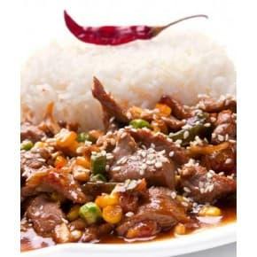 Мясо «По-мексикански», рис отварной (свинина, перец болгарский, морковь, зеленый горошек, кукуруза, перец острый, томат, рис отварной)