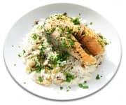 Рыба запеченная с овощами, рис