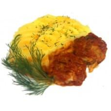Тефтели мясные в томатном соусе, пюре картофельное