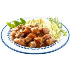 Мясо в соусе барбекю, макароны отварные