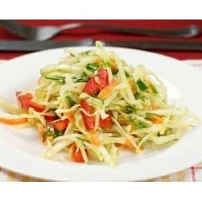 Салат «Радуга» (капуста, перец болгарский, морковь, огурец, растит. заправка)