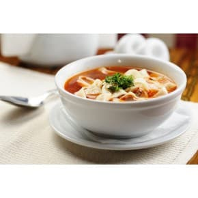 Наваристый суп с лапшой (говядина, лапша яичная, помидоры, перец болгарский, зелень)