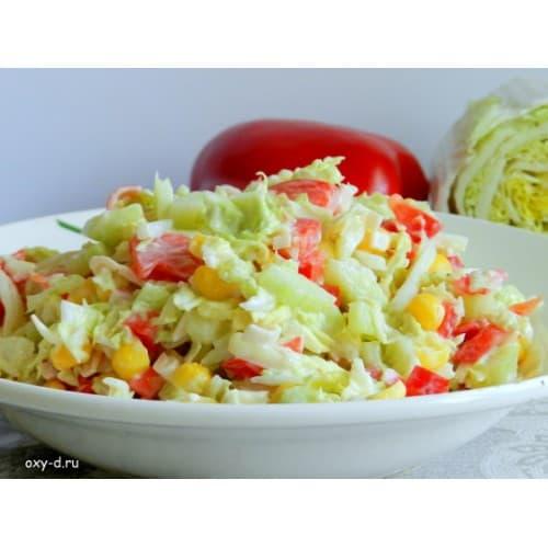 Крабовый салат с капустой и огурцом рецепт с