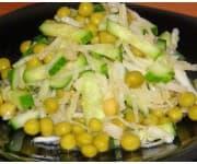 Салат Зеленый (капуста, огурец, зеленый горошек, зелень, растительная заправка)